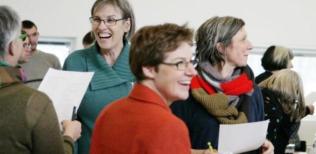 Et godt grin kan styrke netværket, foto fra Forårskur for mikrovirksomheder, foto Ingrid Riis